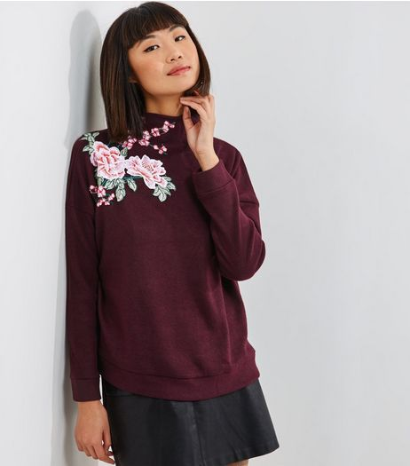 Dark Purple Floral Embroidered Turtle Neck Sweater  | New Look