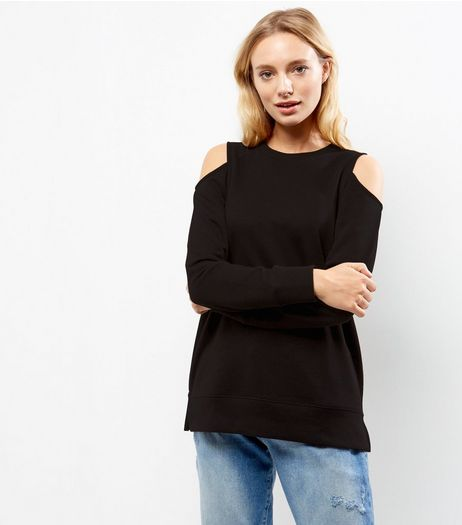 Black Cold Shoulder Long Sleeve Sweater  | New Look