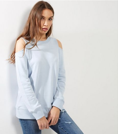 Pale Blue Cold Shoulder Long Sleeve Sweater  | New Look