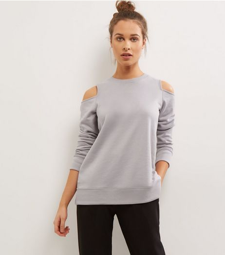 Lilac Cold Shoulder Long Sleeve Sweater  | New Look
