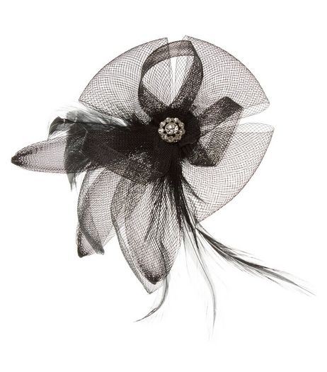 Black Net Feather Fascinator Hair Clip | New Look