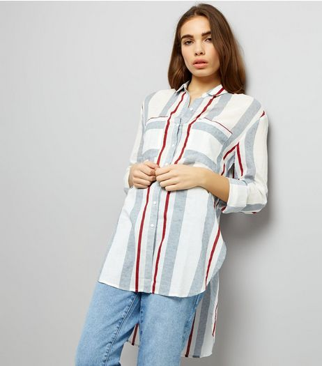 White Multi Stripe Dip Hem Longline Shirt | New Look