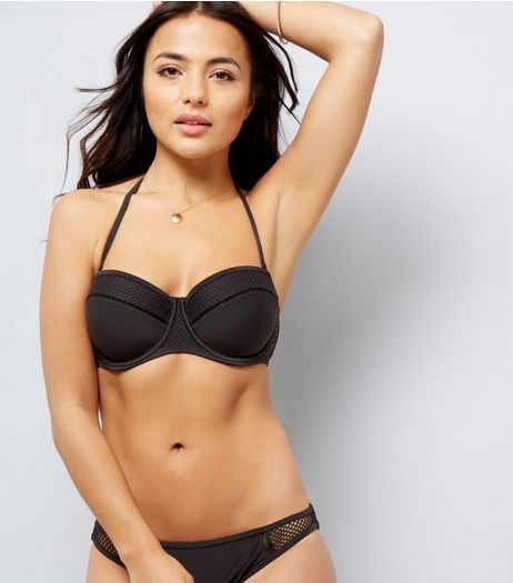 Black Mesh Trim Sporty Underwired Bikini Top | New Look