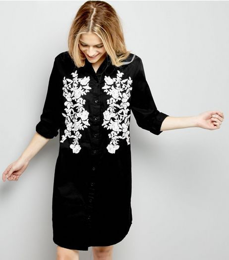 Black Floral Embroiderd Long Sleeve Shirt Dress | New Look