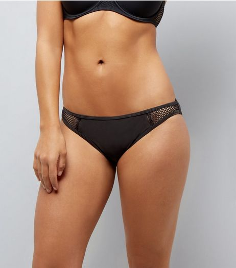 Black Mesh Trim Sporty Bikini Bottoms  | New Look