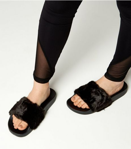 Teens Black Faux Fur Sliders  | New Look