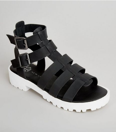 Teens Black Contrast Sole Gladiator Sandals | New Look