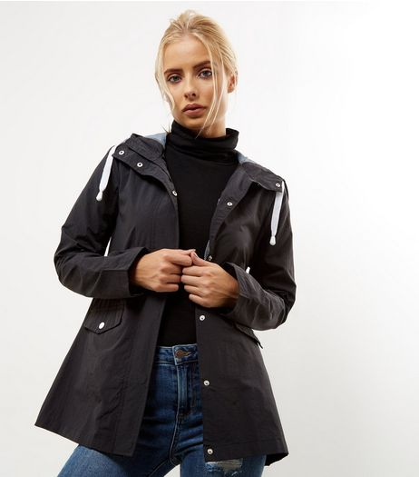 Black Button Trim Hooded Rain Coat  | New Look