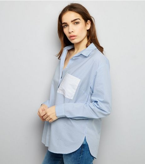 Blue Contrast Stripe Pocket Patch Shirt  | New Look