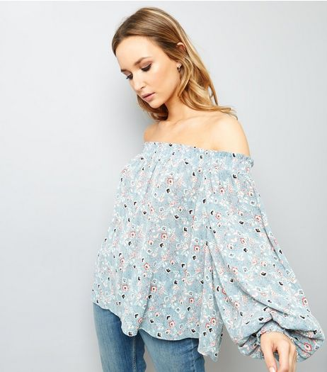 Blue Floral Print Shirred Bardot Neck Top  | New Look