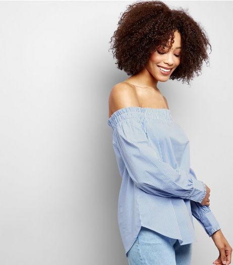 Blue Frill Edge Bardot Top | New Look