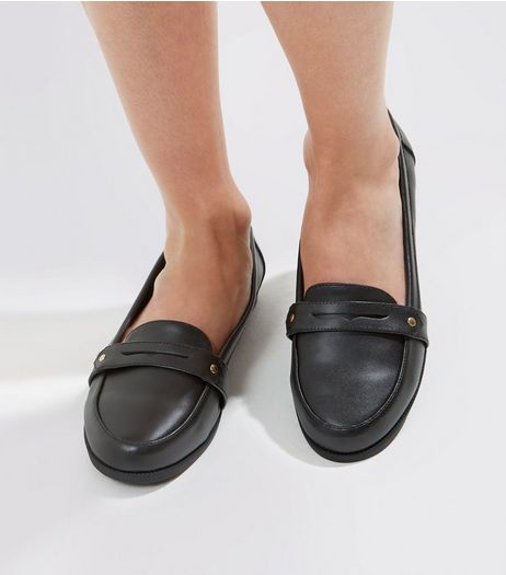 Wide Fit Black Comfort Leather Loafers | New Look