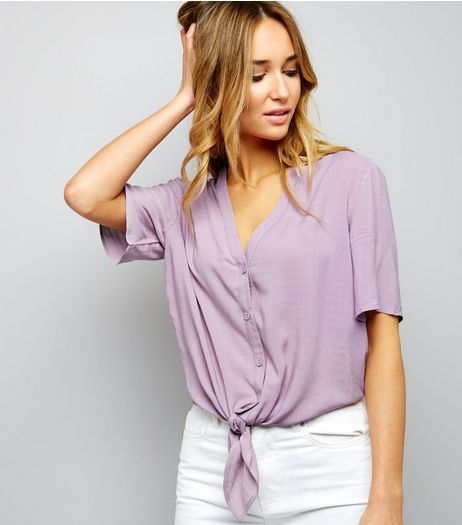 Lilac V Neck Tie Front Cropped Shirt  | New Look