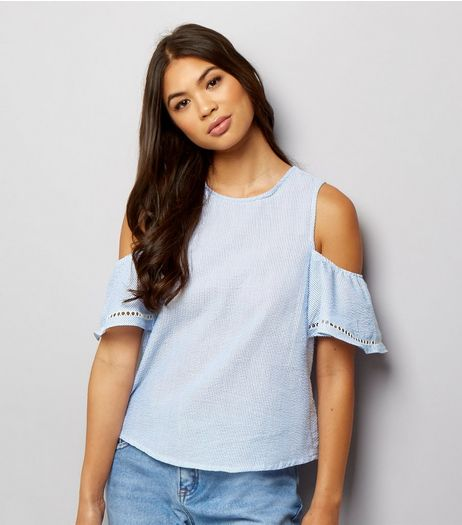 Blue Lattice Back Cold Shoulder Top  | New Look