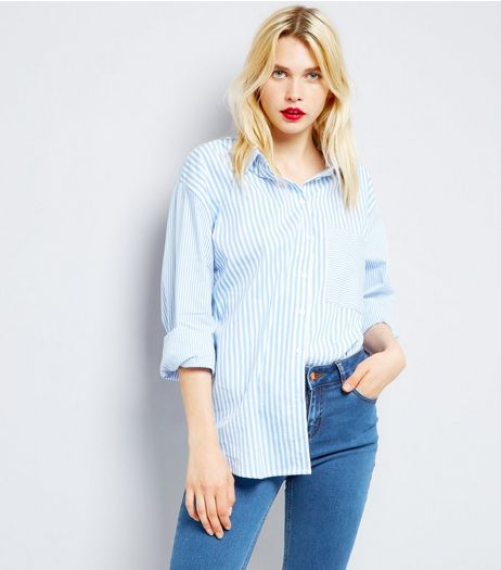 Blue Stripe Long Sleeve Shirt  | New Look