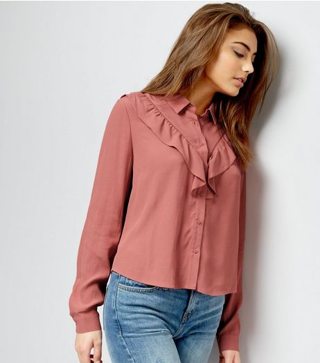 Mid Pink Chevron Frill Trim Long Sleeve Shirt  | New Look