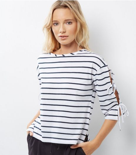 White Stripe Tie 3/4 Sleeve T-Shirt | New Look