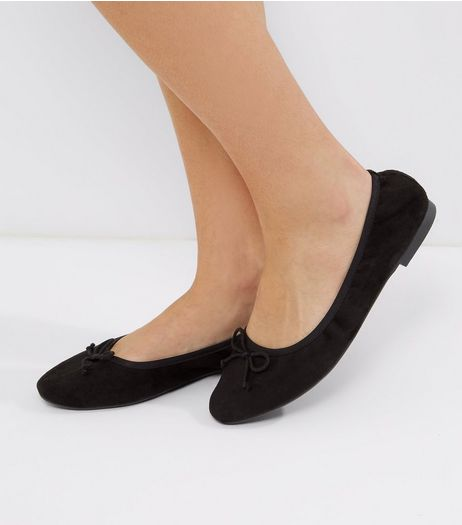 Wide Fit Black Elasticated Ballet Pumps | New Look