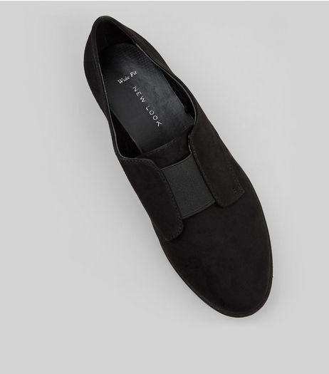 Wide Fit Black Suedette Elasticated Strap Brogues | New Look