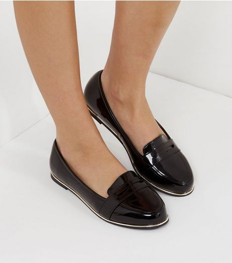 Wide Fit Black Patent Metal Trim Loafers | New Look
