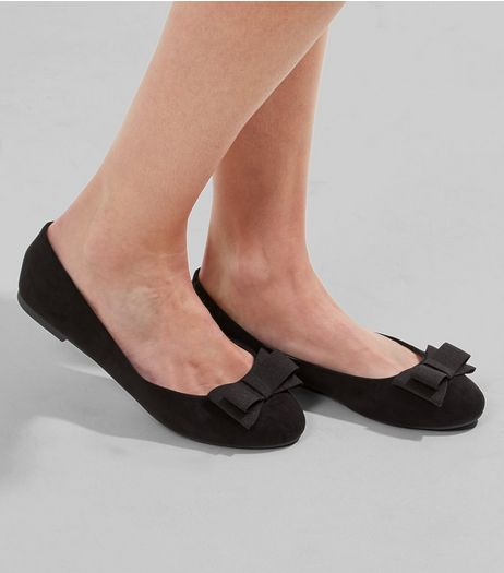 Wide Fit Black Bow Front Pumps | New Look