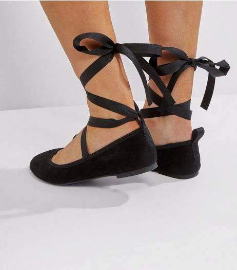 Wide Fit Black Suedette Tie Up Pumps | New Look