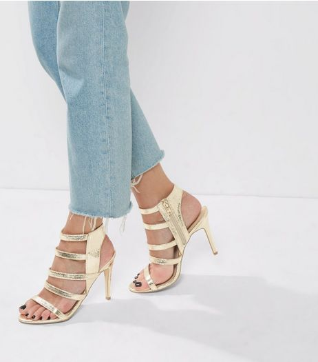 Gold Textured Multi Strap Heeled Sandals | New Look
