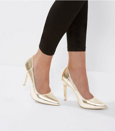 Gold Metallic Pointed Court Shoes | New Look