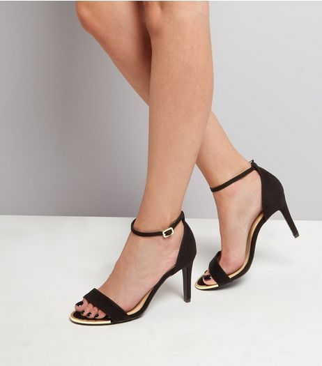 Wide Fit Black Suedette Metal Trim Heeled Sandals | New Look