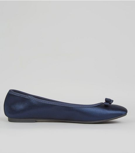Wide Fit Navy Sateen Ballet Pumps | New Look