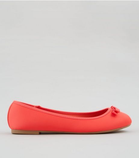 Wide Fit Coral Satin Ballet Pumps | New Look