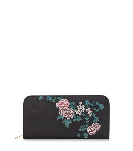 Black Floral Embroidered Zip Around Purse | New Look