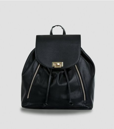 Black Flip Lock Backpack | New Look