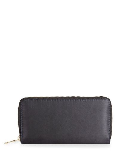 Black Sateen Zip Around Purse | New Look