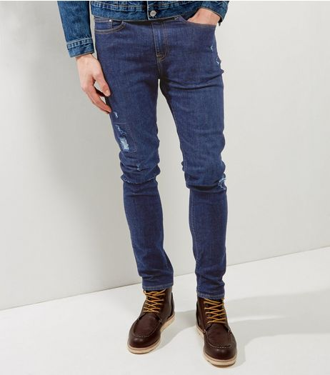 Navy Repaired Rip Skinny Stretch Jeans | New Look