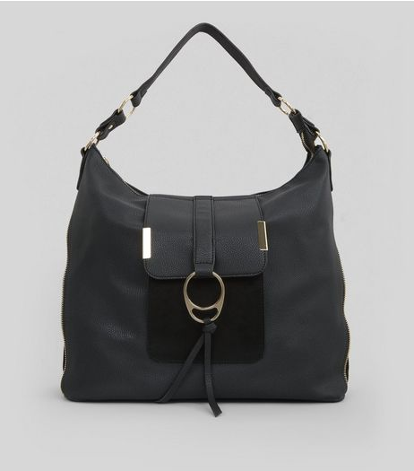 Black Ring Front Tote Bag | New Look
