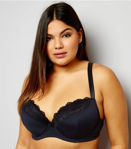 Curves Black Mesh And Lace Trim Bra | New Look