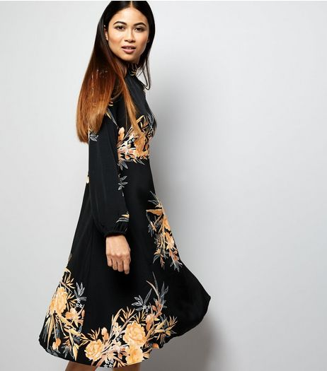 Petite Black Floral Print Funnel Neck Midi Dress | New Look