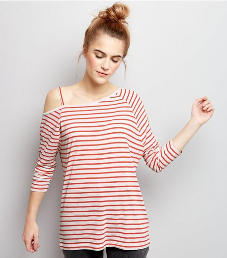 Red Stripe Off The Shoulder 3/4 Sleeve Top  | New Look