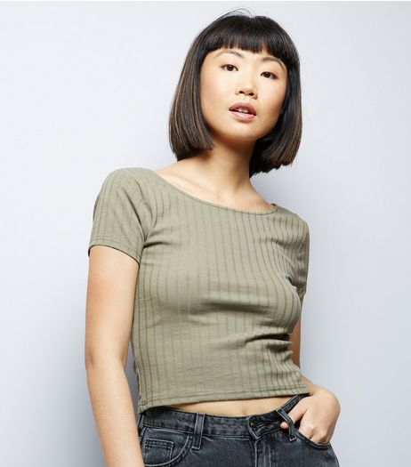 Olive Green Ribbed Short Sleeve Crop Top | New Look