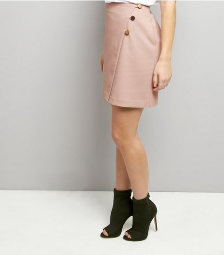 Pink Button Top Wrap Front Mini Skirt | New Look