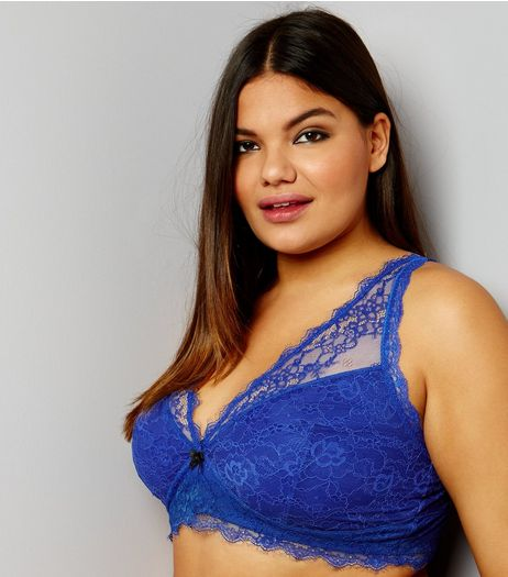 Curves Bright Blue Lace Longline Bra | New Look