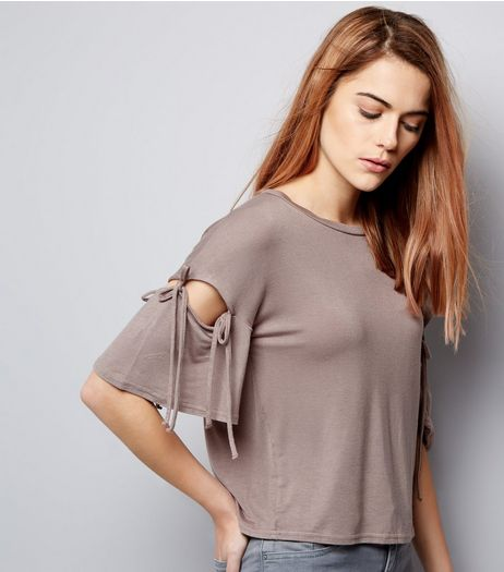 Mink Tie Sleeve Top  | New Look
