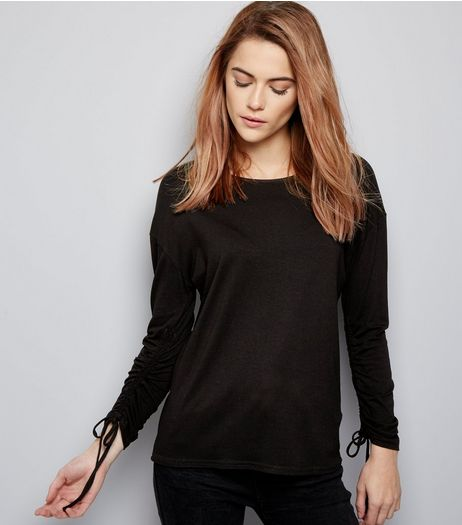Black Ruched Sleeve Top  | New Look