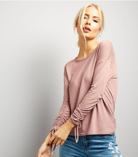 Pink Ruched Sleeve Top | New Look