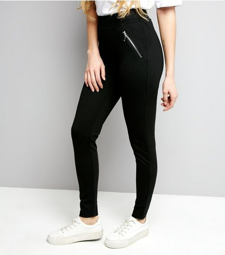 Black Double Zip Leggings | New Look
