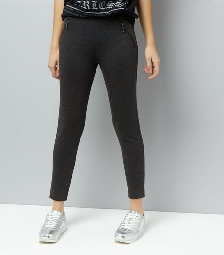 Dark Grey Double Zip Leggings | New Look