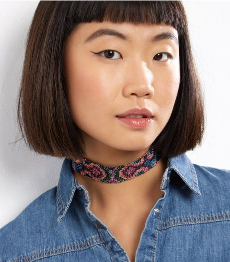 Black Contrast Abstract Print Choker | New Look