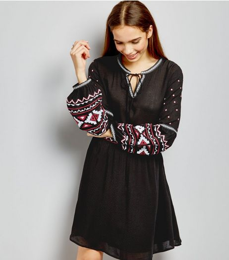 Black Embroidered Long Sleeve Dress | New Look