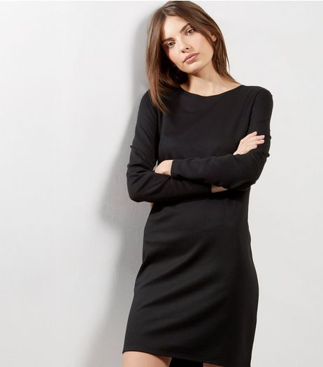 Black Long Sleeve Shift Dress | New Look